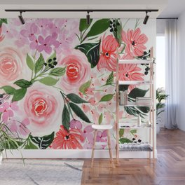 Pink and Red Roses Loose Floral Bouquet Wall Mural