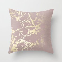 Kintsugi Ceramic Gold on Clay Pink Throw Pillow