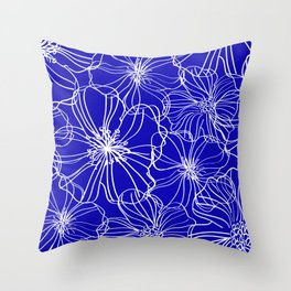 Floral, Line Art, Blue and White, Minimalist Art Throw Pillow