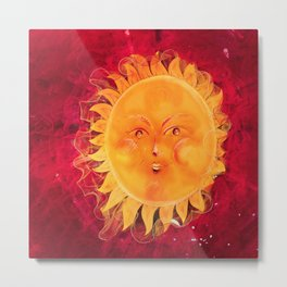 Digital painting of a chubby sun with a funny face Metal Print