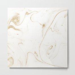 Elegant gold and white marble image Metal Print