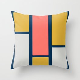 Stacked Blocks, Vertical in Coral, Gold, Gray and Navy Throw Pillow