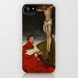 Cardinal Albrecht of Brandenburg kneeling before Christ on the crossCardinal Albrecht of Brandenburg iPhone Case
