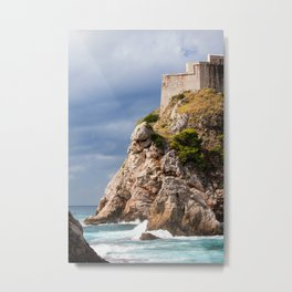 Cliff on the Adriatic Sea in Dubrovnik Metal Print