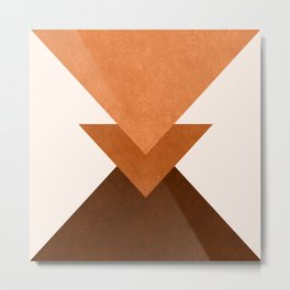 Geometric Blocks in Terracotta Metal Print