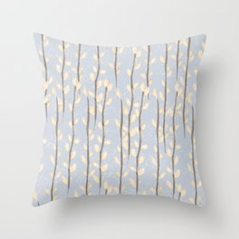 Pussy Willow Branches on Soft Grey Throw Pillow