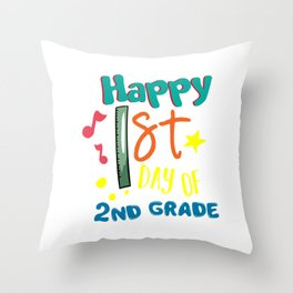 Happy First Day Of Second Grade Back To School Studying Gifts Throw Pillow