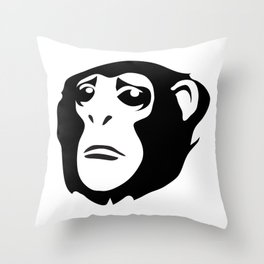 Sad Monkey Throw Pillow