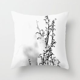 Plant Covered With Snow Throw Pillow