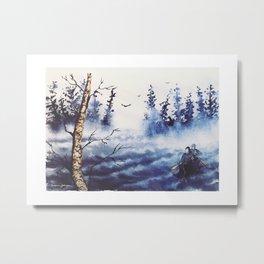 Stormy Paddle - Canoe in Northern Minnesota - Birch & Pine - Susanne Johnson Art Metal Print