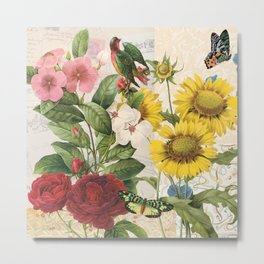 Sunflowers  With Butterflies and a Bird Metal Print