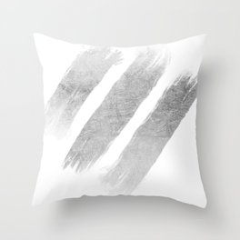 Elegant faux silver foil trendy brushstrokes Throw Pillow