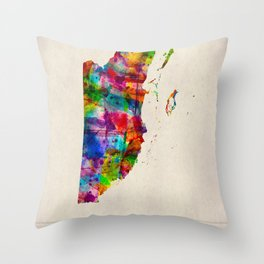 Belize Map in Watercolor Throw Pillow
