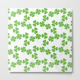 Lucky Shamrock Clover Leaves Metal Print