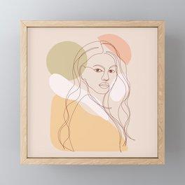 Line-art Portrait - Fierce Girl Power Framed Mini Art Print