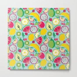Paper cut geo fruits // aqua background multicoloured geometric fruits Metal Print
