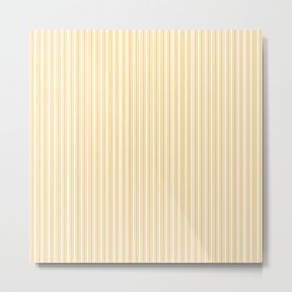 Classic Small Yellow Butter French Mattress Ticking Double Stripes Metal Print