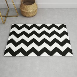 BLACK AND WHITE CHEVRON PATTERN - THICK LINED ZIG ZAG Rug