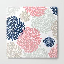 Floral Pattern Chrysanthemum, Blush Pink, Navy Blue Metal Print