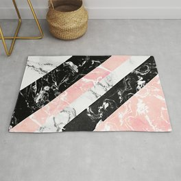 Modern black white pastel pink marble color block stripes Rug