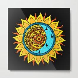 Sun and Moon Mandala Metal Print