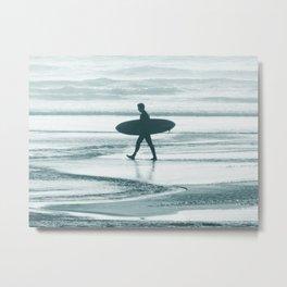Surf Minimalism, Black and White Surfer Metal Print