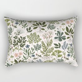 Herbarium ~ vintage inspired botanical art print ~ white Rectangular Pillow