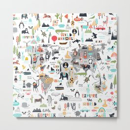 Animals World Map Animal Travelers Gray Metal Print
