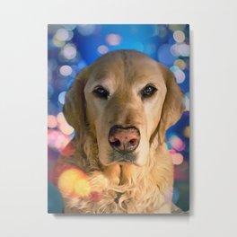 Beautiful Golden Retriever Dog with Bokeh Background Metal Print