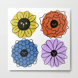 Flower Faces Metal Print
