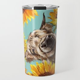 Highland Cow with Sunflowers in Blue Travel Mug