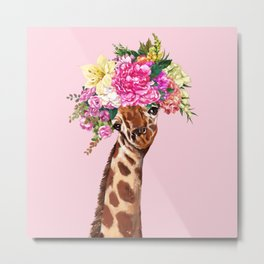 Flower Crown Baby giraffe in Pink Metal Print