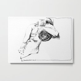 Figure Resting with Universe Metal Print