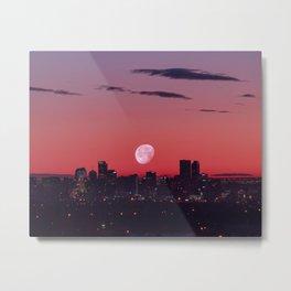 Super Moon City // View of Downtown Denver Colorado Redish Blue Skyline Metal Print