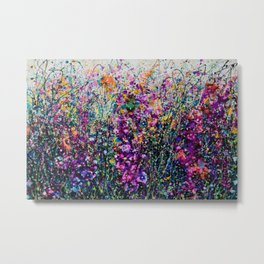 Hollyhock Fantasy Pollock Inspired Abstract Metal Print