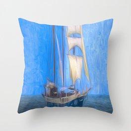 Atlantis Sailing Ship Art Throw Pillow