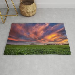 Natural Beauty - Sunlight Illuminates Clouds on Spring Evening in Oklahoma Rug