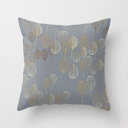 Golden Leaves - Gray Throw Pillow