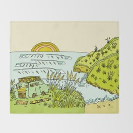 home is where you park it // wandering in new zealand // retro surf art by surfy birdy Throw Blanket
