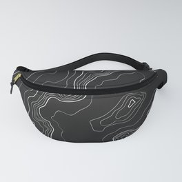 Black & White Topography map Fanny Pack