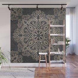 Mandala White Gold on Dark Gray Wall Mural