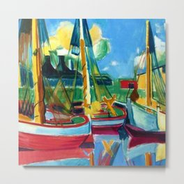 Fishing Boats in the Afternoon Sun by Hermann Max Pechstein Metal Print