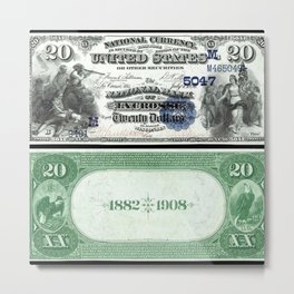 1882 Issue U.S. Federal Reserve Twenty Dollar Battle of Lexington Bank Note Metal Print