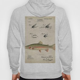 Vintage Rainbow Trout Fly Fishing Lure Patent Game Fish Identification Chart Hoody