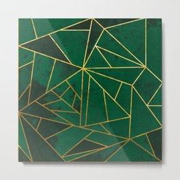 Emerald Green Geometric Gold Lines Metal Print