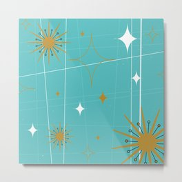 Atomic Burst Teal White and Gold Metal Print
