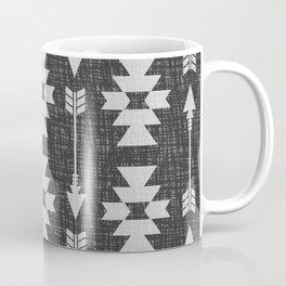 Southwestern Arrow Pattern 238 Black Grey and White Coffee Mug