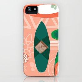 Surfboards pink orange coral green - Hawaiian print. iPhone Case