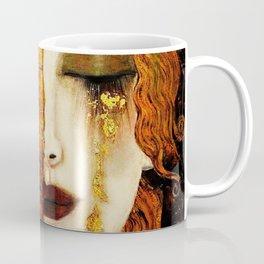 Gustav Klimt: The Kiss & Freya's Tears golden-red flower anemone college portrait painting Coffee Mug