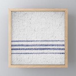 Vintage Farmhouse Grain Sack Indigo Blue Framed Mini Art Print